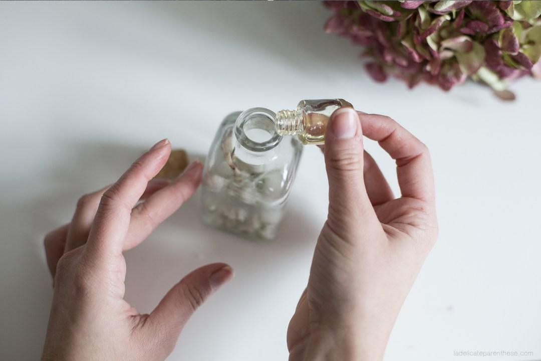 DIY handmade création flacon floral