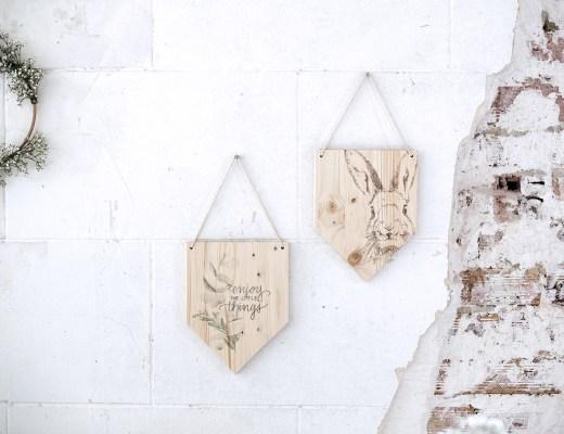 Création DIY handmade fanion en bois à suspendre
