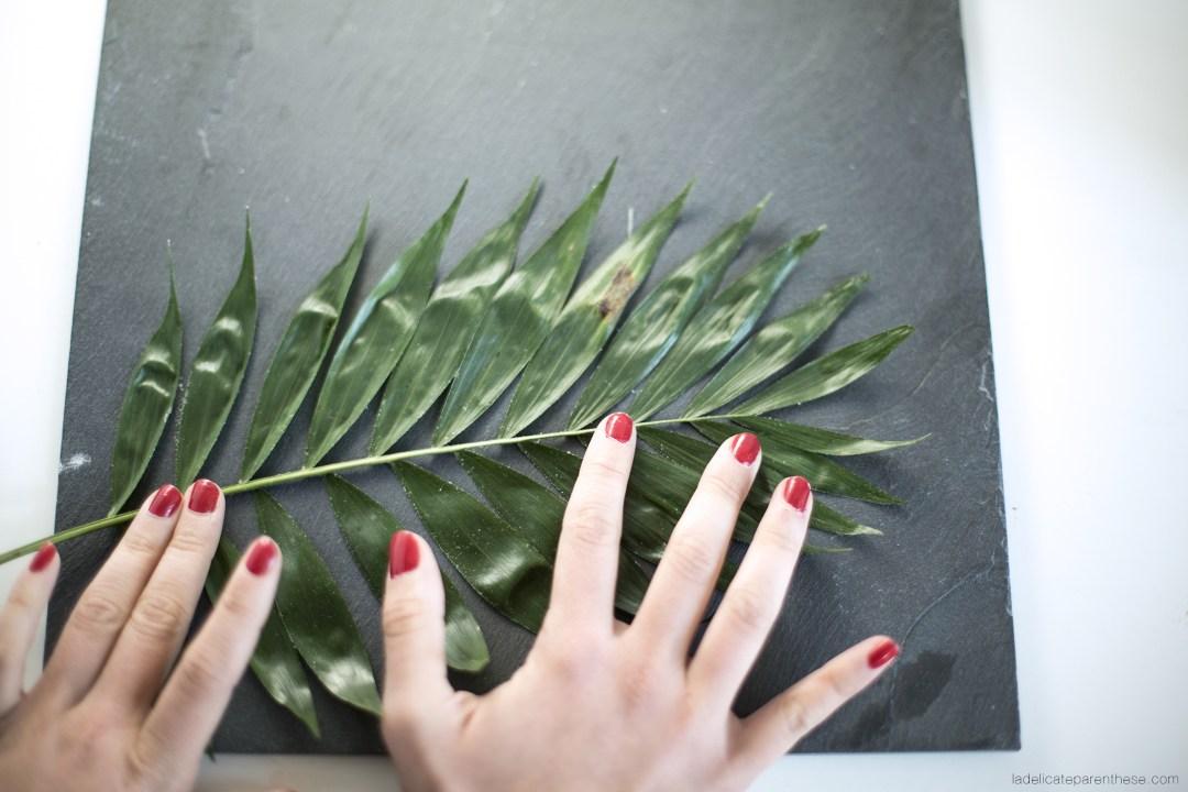 DIY création décoration handmade assiettes végétale empreinte sur ardoise