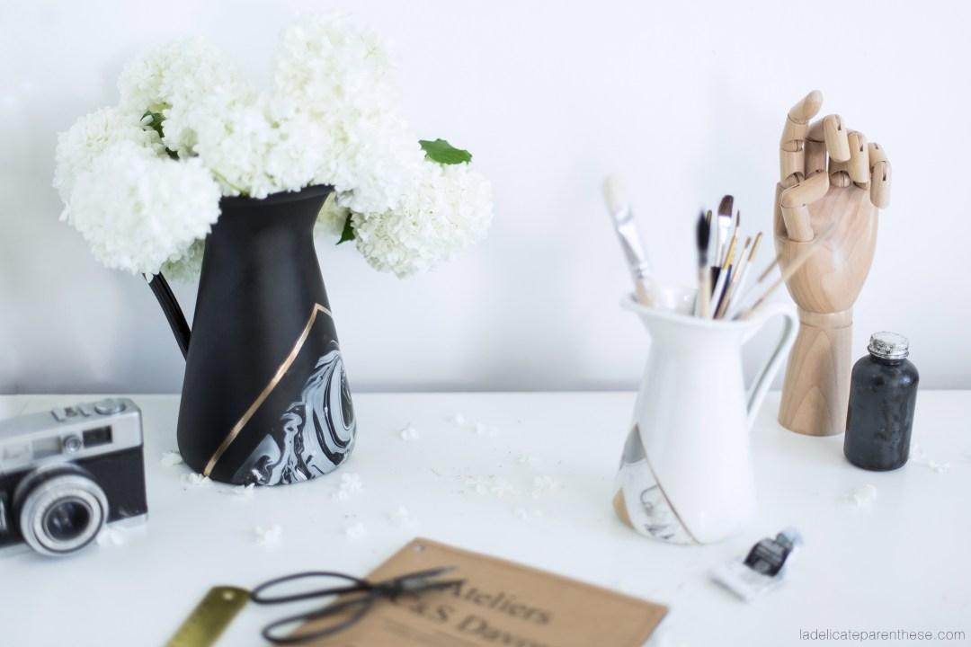 réalisation d'un vase marbré avec effet de vernis pour IKEA