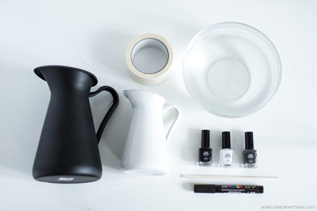 outils necessaire pour personnaliser un vase ikea avec du vernis pour un effet marbré