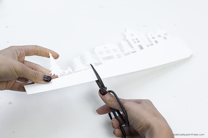 découpe maison de papier - village lumineux