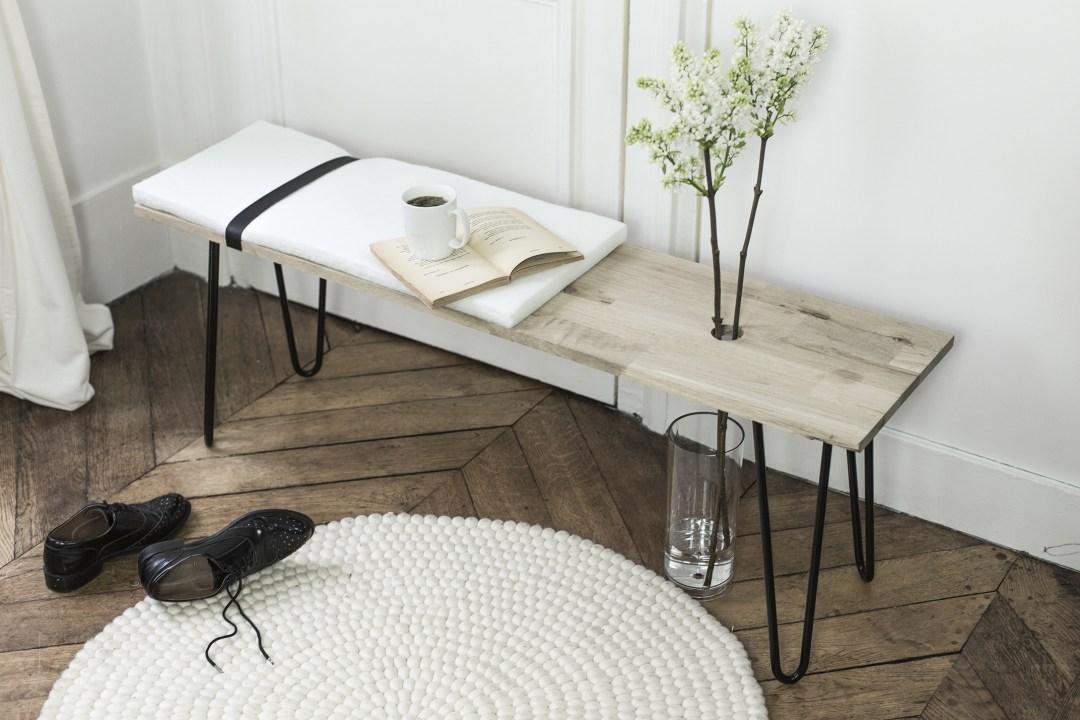 Banc minimaliste et végétal DIY