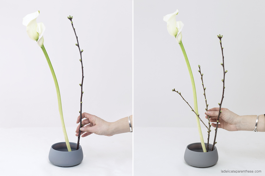 réalisation ikébana art floral japonais pas à pas
