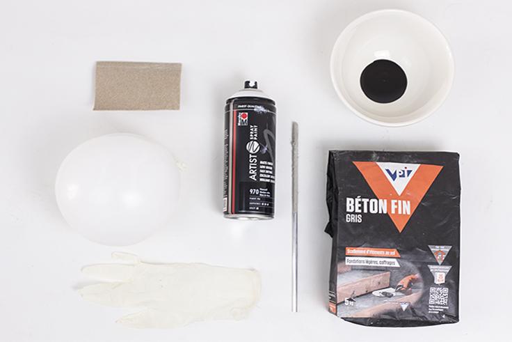 outils création bol en béton pour Paques