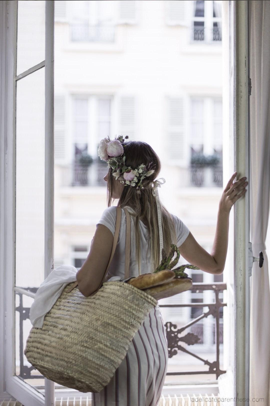 Pique-Nique fleuri et champêtre à ma fenêtre, retour de marché