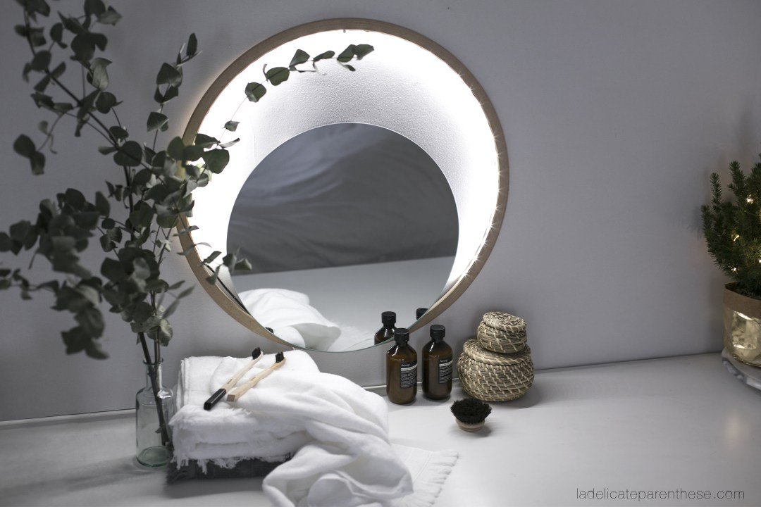 miroir de salle de bain lumineux, tendance et minimal DIY