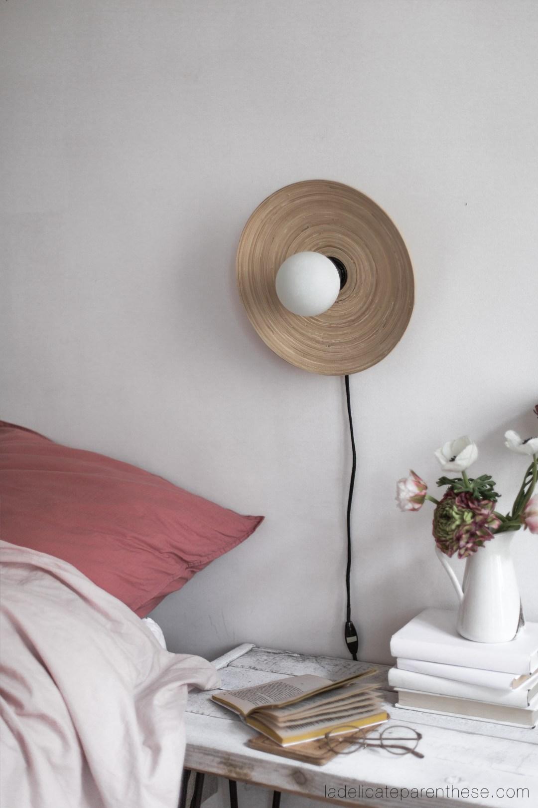 création Diy LAMPE avec assiette en bois détournement
