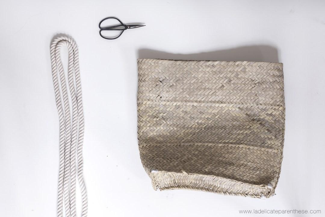 fournitures necessaires à cette création panier en corde