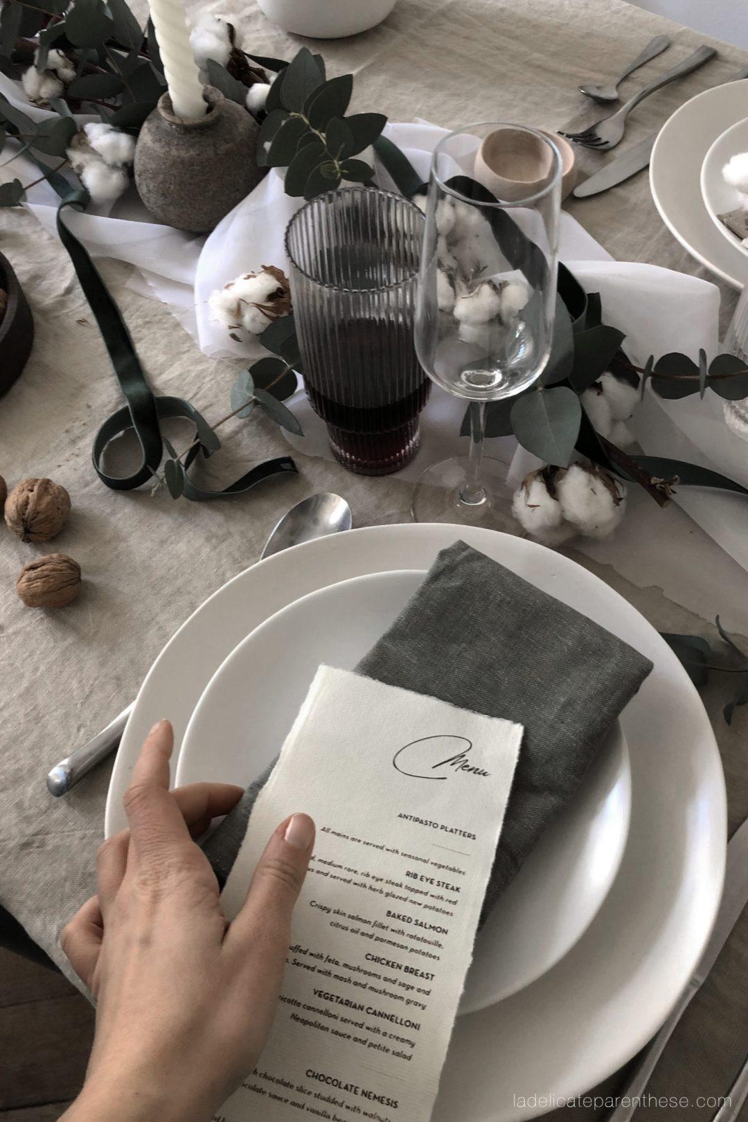 une table de noel zero dechets avec sosrene grene