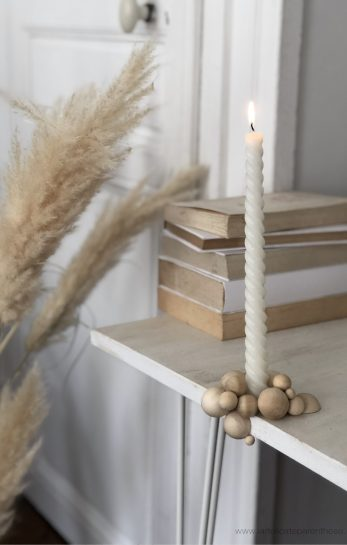creation bougeoir perle de bois minimaliste