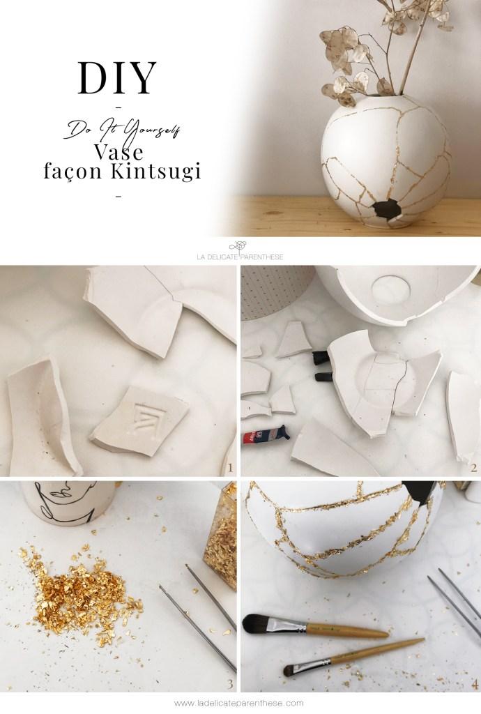 pas à pas collage tuto DIY kintsugi vase ceramic