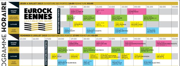 Eurockéennes 2013 - Horaires du jeudi et du vendredi - La Déviation