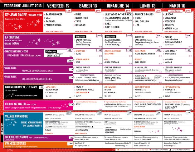 Francofolies 2013 - Les horaires complets