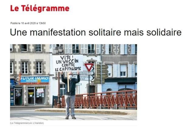 200428 - Le Télégramme Une manifestation solitaire mais solidaire à Châteaulin Finistère rogné - La Déviation
