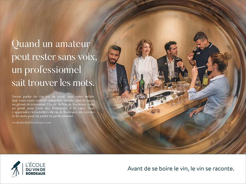 Campagne pour l'école du vin de Bordeaux - rester sans voix