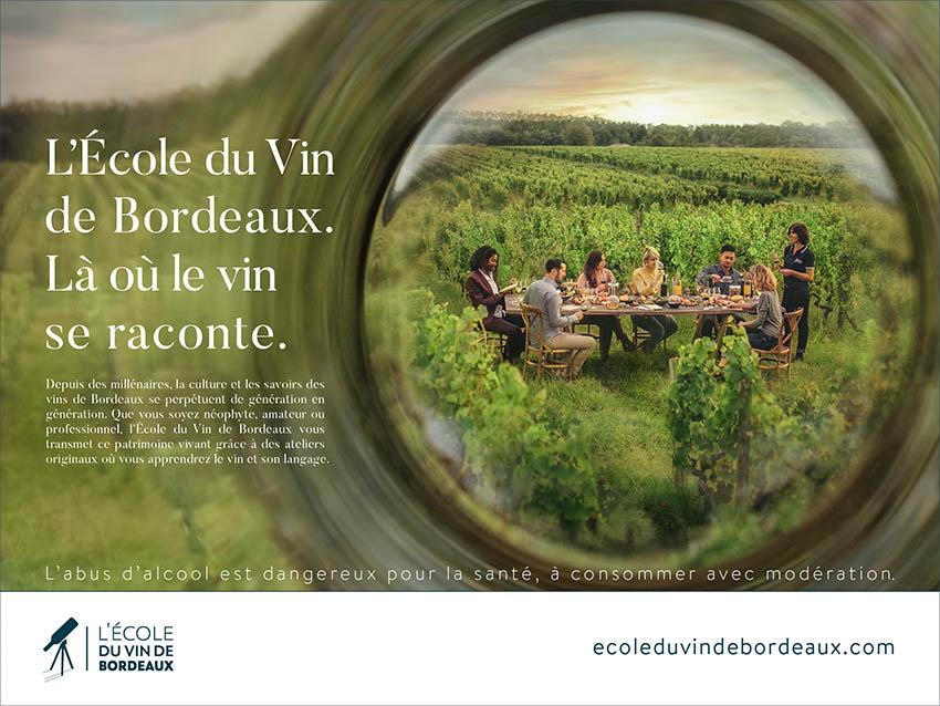 Campagne pour l'école du vin de Bordeaux - le vin se raconte