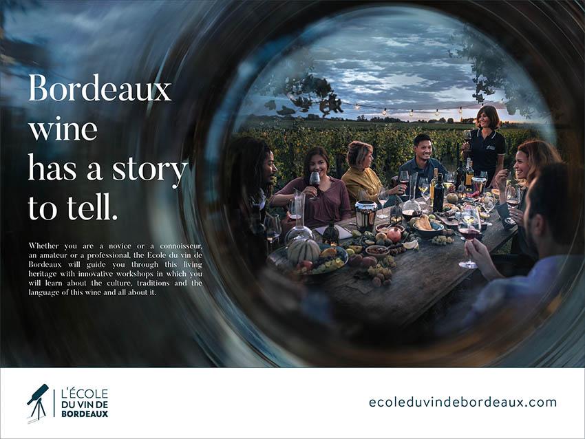 Campagne pour l'école du vin de Bordeaux - has a story to tell