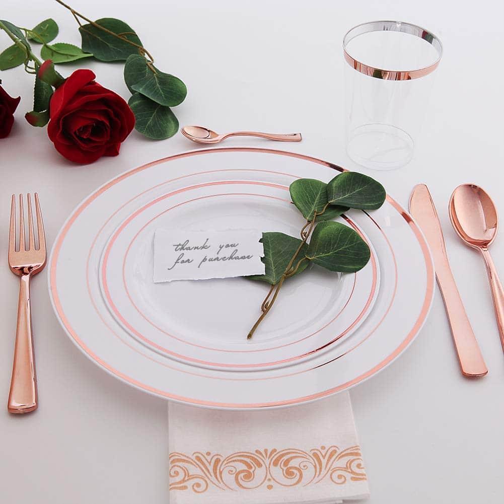 120 pieces rose gold disposable plastic plates rose gold rim wedding party plates premium