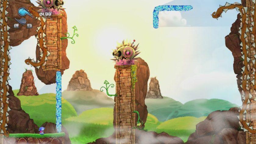 gameplay du jeu okunoka madness avec ses plateformes controlables par le héros KA