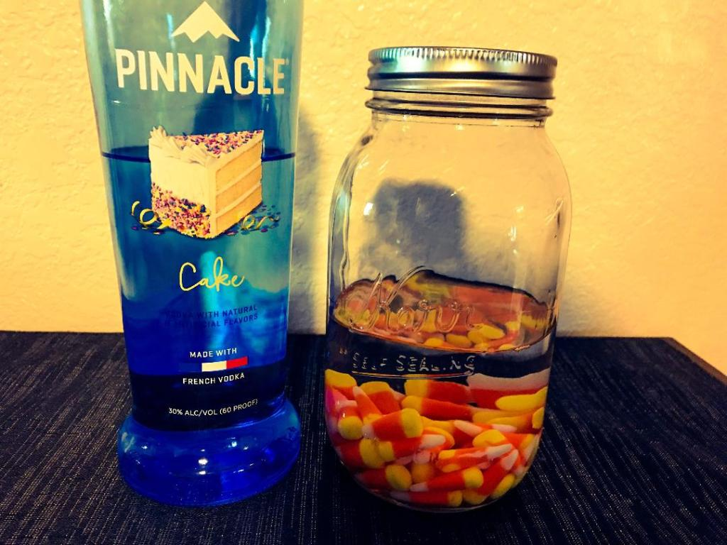 Starting to infuse cake vodka with candy corns to make candy corn vodka