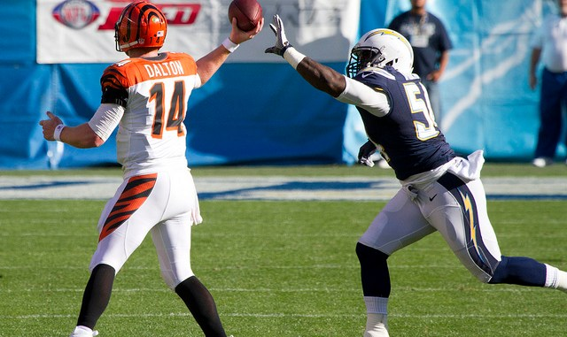Chargers Defense stripping the ball from Cinncinati Bengals Quarterback Andy Dalton