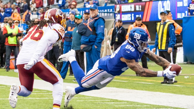 New York Giants Tight End Evan Ingram catching a touchdown pass