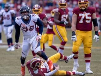 Denver Broncos Von Miller sacking Washington Redskins quarterback
