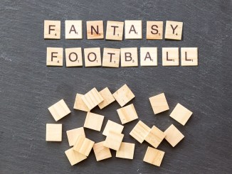 Fantasy Football spelled out in scrabble tiles