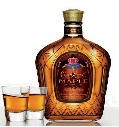 Two shots of Crown Royal Maple Whisky