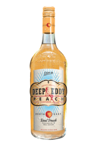 A bottle of Deep Eddy Peach Vodka used to make the Peach Cosmopolitan martini