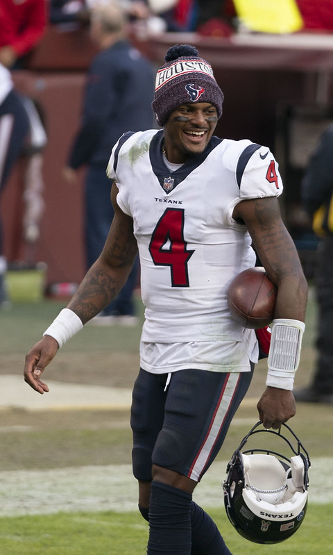 NFL Houston Texans quarterback Deshaun Watson smiling after a big win!