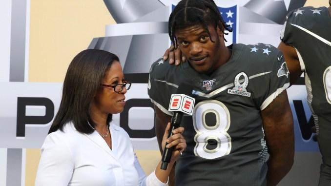 NFL Baltimore Ravens quarterback getting interviewed by ESPN