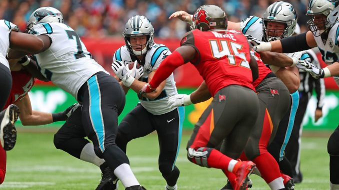 NFL Carolina Panthers running back Christian McCafferey running for a touchdown