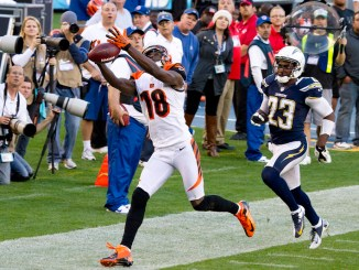 NFL Cincinnati Bengals wide receiver A.J. Green dropping a pass against the Los Angeles Chargers