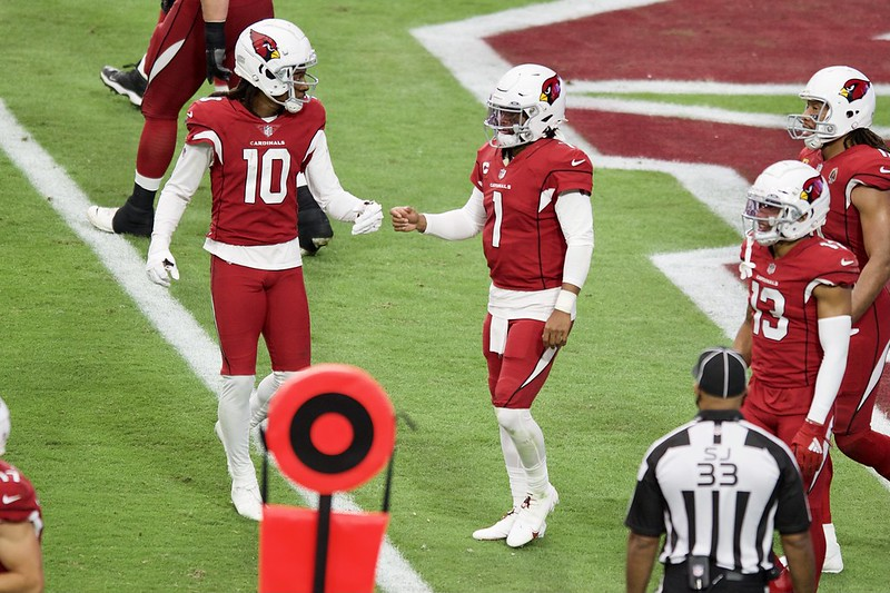 NFL Arizona Cardinals wide receiver DeAndre Hopkins celebrating a touchdown with quarterback Kyler Murray