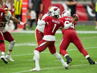 NFL Arizona Cardinals quarterback Kyler Murray playing throwing a pass against the Washington Football Team