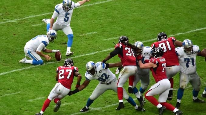 NFL Detroit Lions Kicker Matt Prater kicking a field goal against the Atlanta Falcons