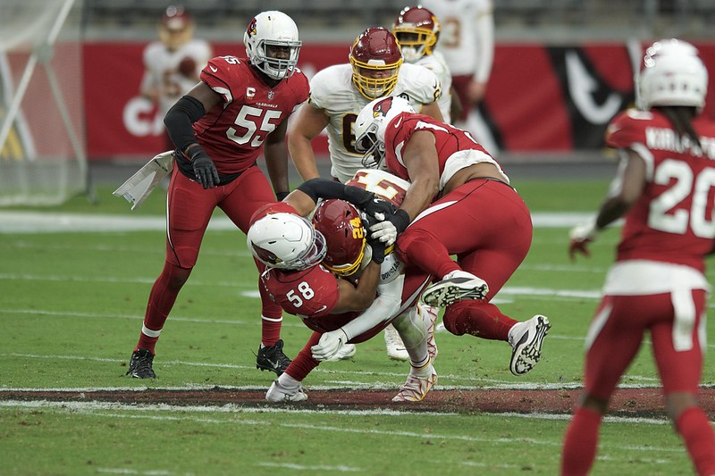 NFL Arizona Cardinals defense tackling Washington Football Team running back Antonio Gibson
