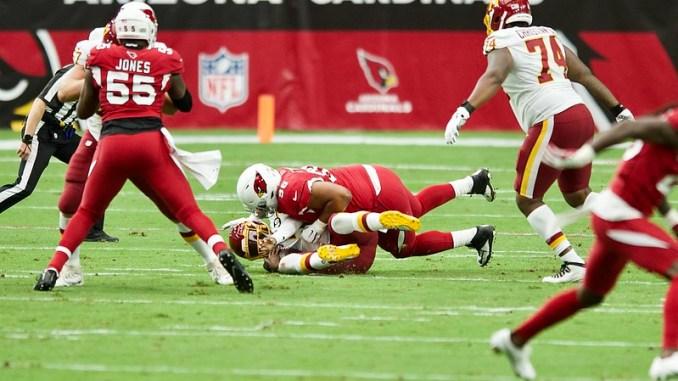 NFL Arizona Cardinals defense sacking Washington Football Team quarterback Dwayne Haskins