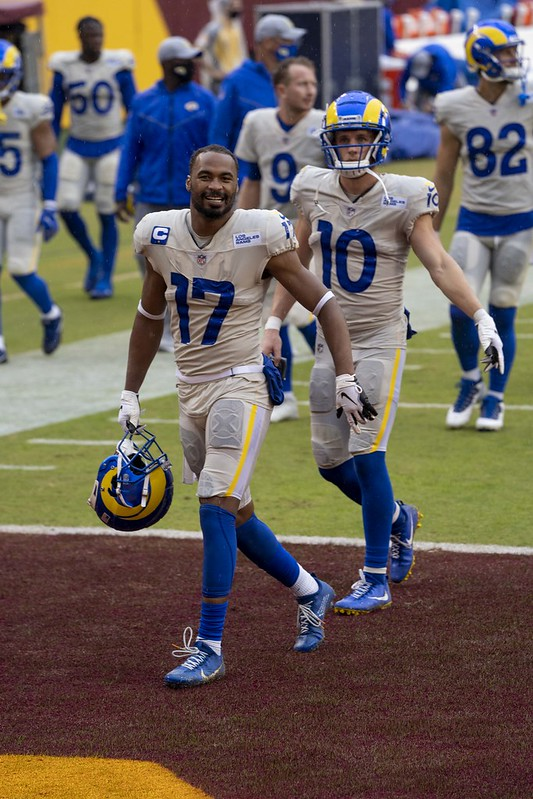 NFL Los Angeles Rams wide receivers Robert Woods and Cooper Kupp walking off the football field after a football game