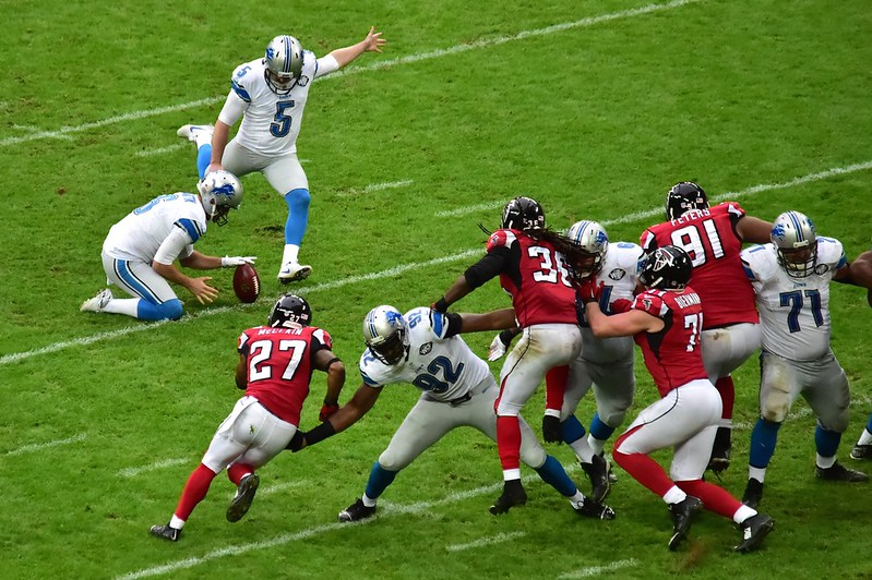 NFL Detroit Lions kicker Matt Prater kicking a field goal against the Atlanta Falcons.