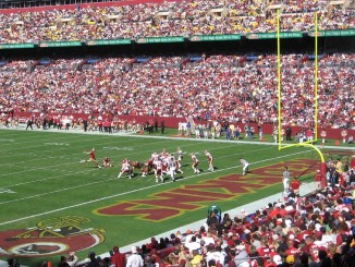 San Francisco 49ers kicker kicking a field goal against the Washington Football Team at FedEx Field