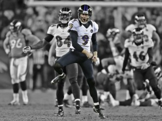 NFL Baltimore Ravens kicker Justin Tucker celebrating after making a field goal.