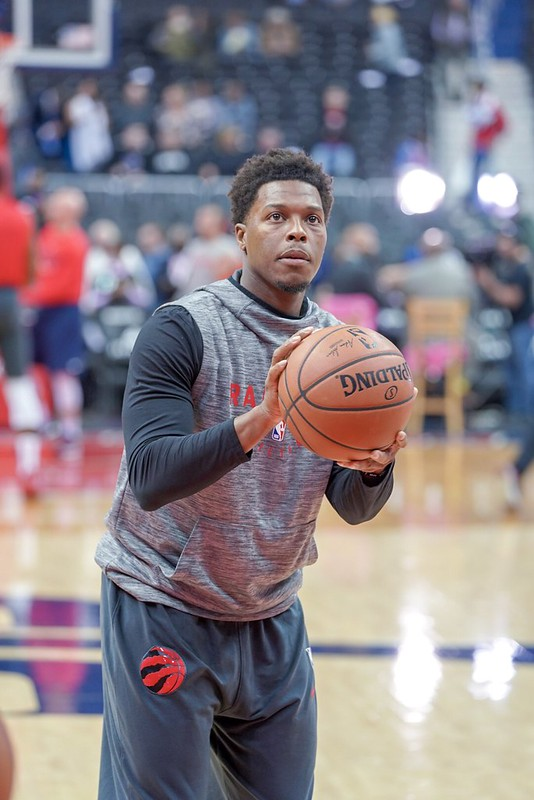 NBA Toronto Raptors point guard Kyle Lowry warming up before a game against the Washington Wizards.