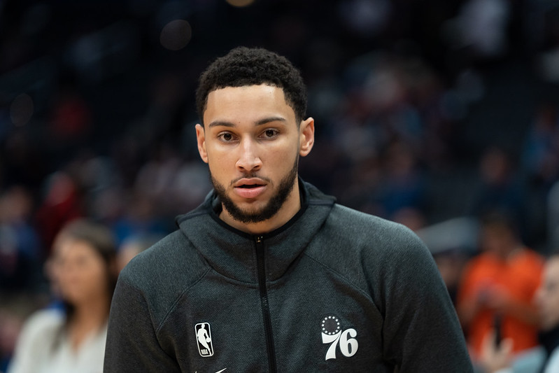 NBA Philadelphia 76ers point guard Ben Simmons warming up before a basketball game.
