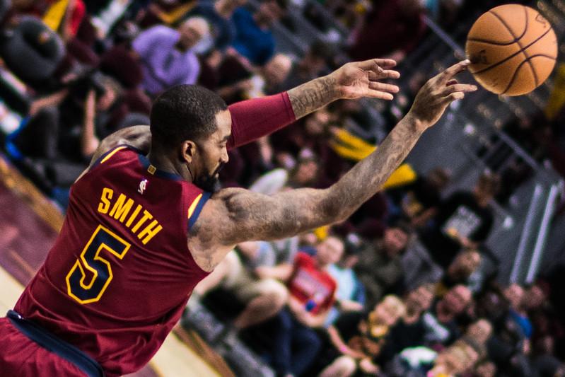 NBA Cleveland Cavaliers shooting guard J.R. Smith shooting the basketball.