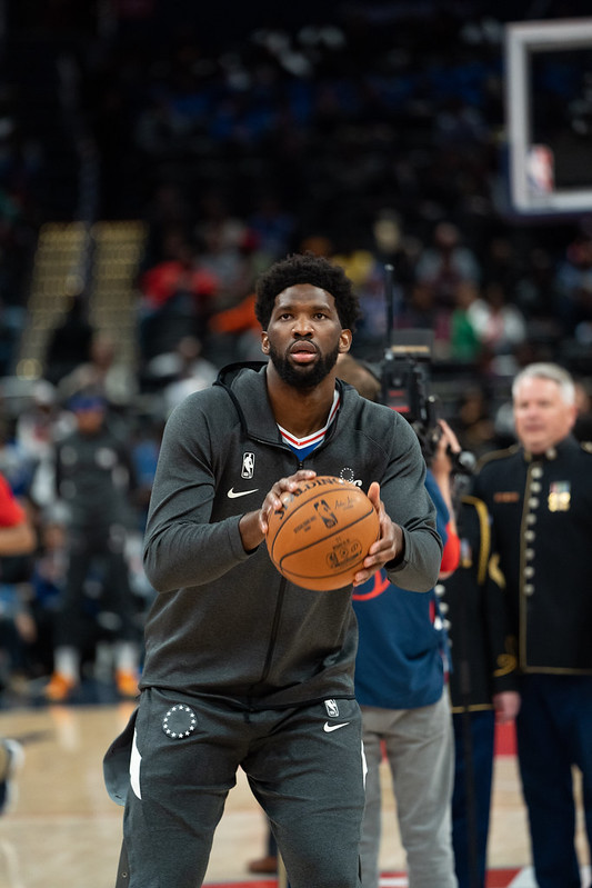 NBA Philadelphia 76ers center Joel Embiid shooting during warmup before a basketball game.
