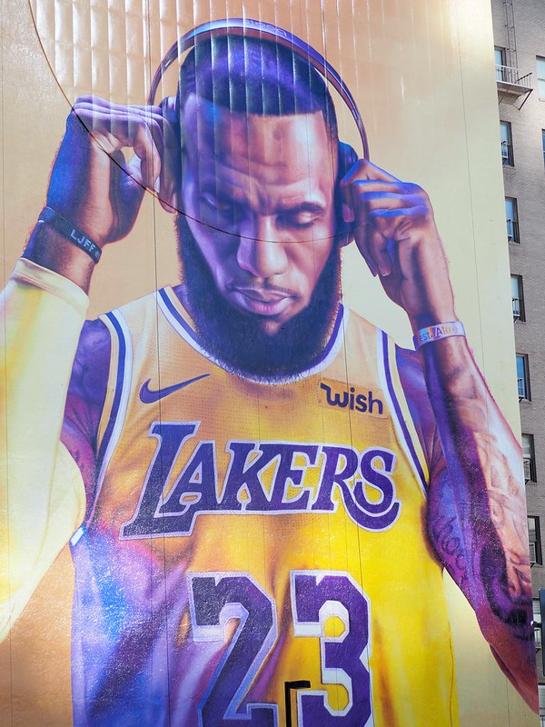 The LeBron James mural located across the street from the Staples Center in downtown Los Angeles