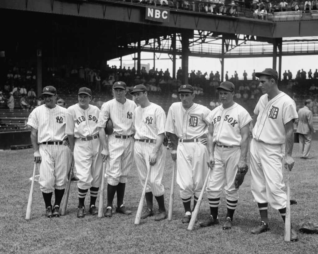 Legendary baseball players from the New York Yankees, Boston Red Sox, and Detroit Tigers.